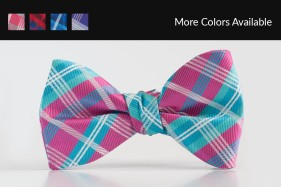 Plaid Fuchsia Bow Tie Tuxedo Accessories