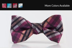 Plaid Raspberry Bow Tie Tuxedo Accessories